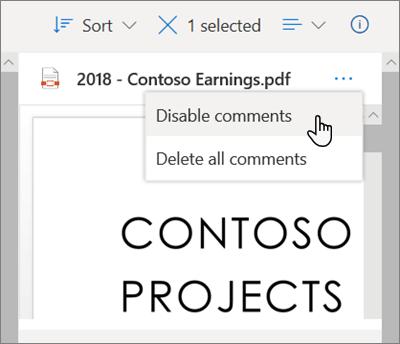 Panel detail OneDrive, dengan opsi ' Nonaktifkan komentar ' dipilih di menu turun bawah