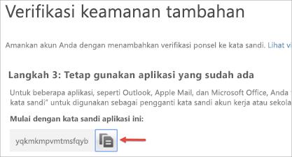 Gambar ikon salin untuk menyalin kata sandi aplikasi ke clipboard.
