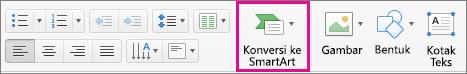 Konversi menjadi SmartArt PowerPoint untuk Mac