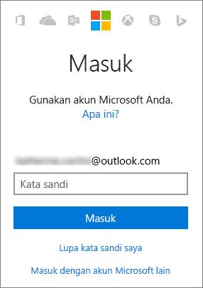 Cuplikan layar memperlihatkan layar masuk akun Microsoft