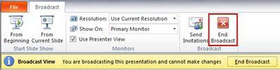 tab siaran muncul saat menyiarkan peragaan slide di powerpoint 2010.