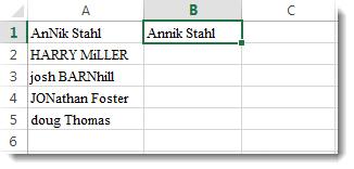 Daftar nama salah ketik di kolom A, dan di sel B1 nama dalam kapitalisasi yang tepat