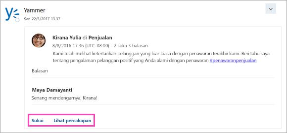 Cuplikan layar tombol tindakan dalam kartu dari layanan tersambung