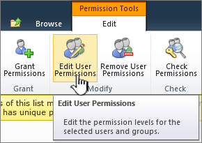 Mengedit izin pengguna