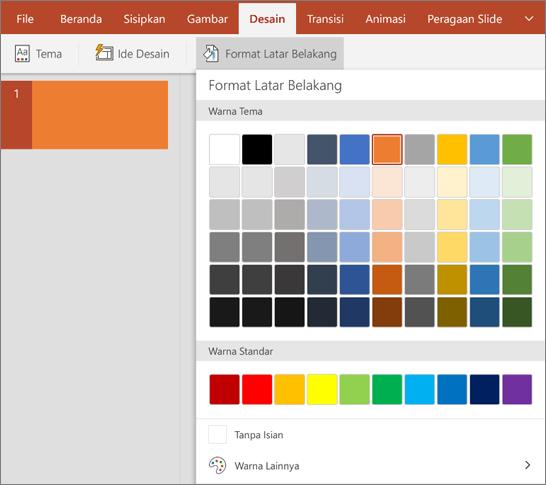 Memperlihatkan opsi Format latar belakang pada tab desain di PowerPoint.