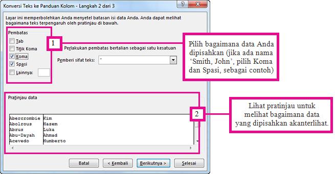 Langkah 2 dalam Panduan Mengonversi Teks menjadi Kolom