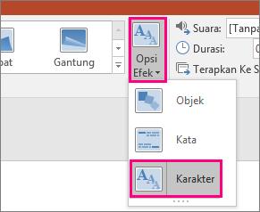 Memperlihatkan menu Opsi Efek untuk Transisi Morf dengan Karakter yang dipilih.
