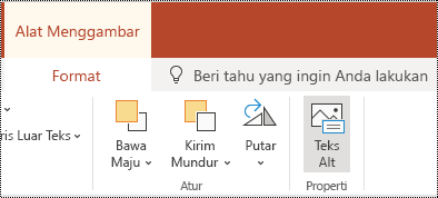 Tombol teks Alt pada pita untuk bentuk dan video di PowerPoint online.