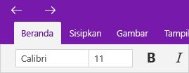 Menunjukkan panah halaman yang telah dikunjungi di atas tab Beranda.