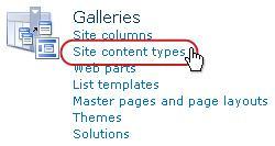 Tipe konten situs link di bawah Galeri
