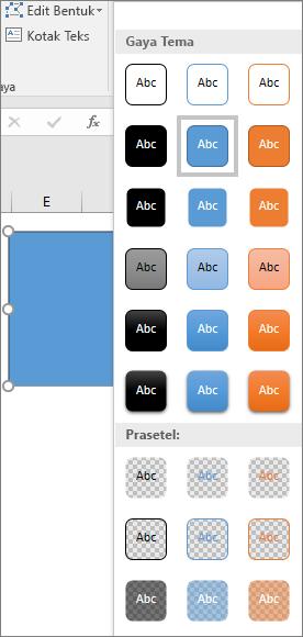 Galeri Gaya bentuk memperlihatkan gaya baru yang sudah ditetapkan di Excel 2016 untuk Windows