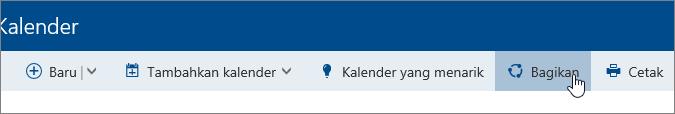 Cuplikan layar tombol kalender Bagikan di bilah navigasi.