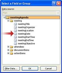 Memilih bidang meetingDate dalam kotak dialog Pilih Bidang atau Grup