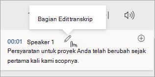 Pilih Edit bagian transkrip