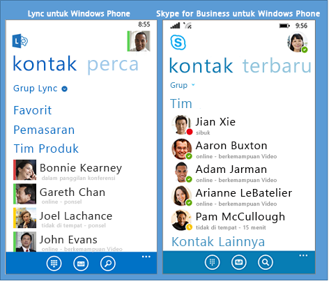 Perbandingan berdampingan antara Lync dan Skype for Business untuk Windows Phone