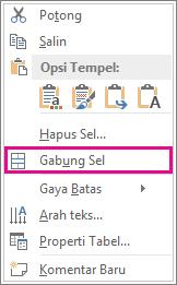 Klik kanan menu pintasan untuk menggabungkan sel tabel