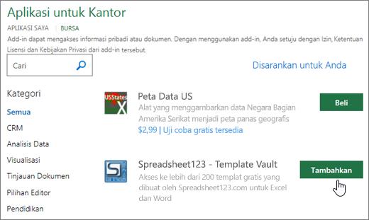Cuplikan layar memperlihatkan Add-in Office halaman tempat Anda bisa memilih atau Cari untuk add-in Excel.
