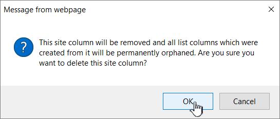 Konfirmasi penghapusan dengan mengklik OK