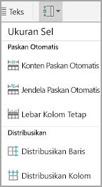 Ukuran sel tabel Android