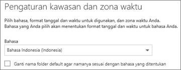 Atur bahasa Outlook Web App Anda dan putuskan apakah Anda ingin mengganti nama folder
