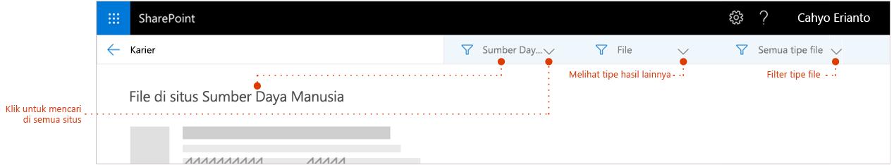 Cuplikan layar hasil pencarian halaman, diperbesar ke atas hasil mana catatan singkat memperlihatkan situs hasil yang berasal dari. Petunjuk untuk filter.