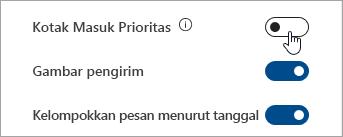 Cuplikan layar tombol alih Kotak Masuk Prioritas dalam Pengaturan cepat