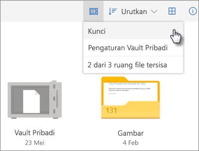 Cuplikan layar penguncian Personal Vault di OneDrive