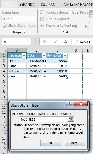 Ubah Ukuran Tabel