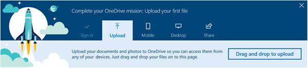 cuplikan layar OneDrive terpandu tur yang muncul saat Anda pertama kali menggunakan OneDrive for Business di Office 365