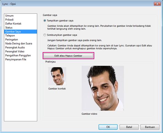Cuplikan layar jendela opsi Gambar Saya dengan Edit atau Ubah Gambar disorot