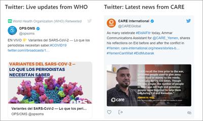 Gambar komponen web twitter yang memperlihatkan tweet dari dua sumber