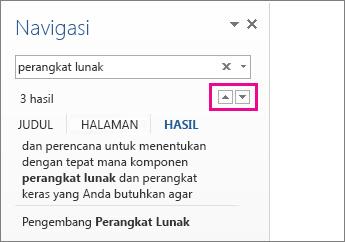 Panah hasil pencarian Panel Navigasi