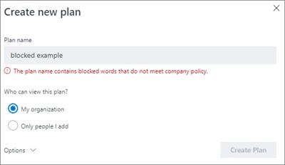 Cuplikan layar: Mengelompokkan penamaan kebijakan - Buat baru contoh paket yang diblokir