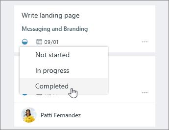 Klik ikon kemajuan dan Ubah status