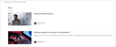 Gambar komponen web berita dengan dua contoh judul berita.