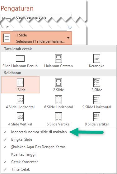 Mencetak Nomor Slide pada Handout.