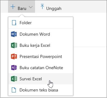 Menu Baru, perintah survei Excel
