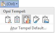 Tombol opsi tempel di Word, diperluas untuk memperlihatkan opsi.