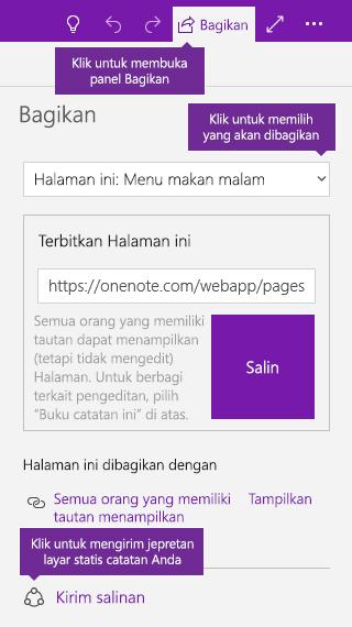 Cuplikan layar saat mengirimkan salinan catatan dari OneNote
