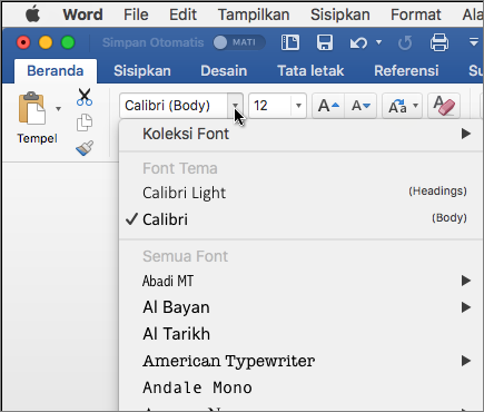 Klik font turun di Word untuk mengubah huruf teks Anda.