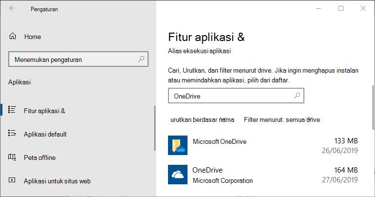 Pengaturan Aplikasi OneDrive di Windows