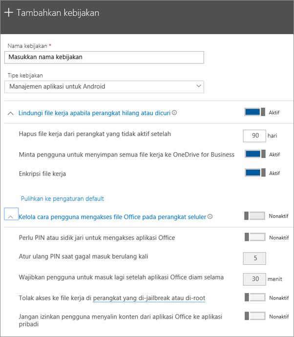 Cuplikan layar Buat kebijakan dengan Manajemen aplikasi untuk Android dipilih