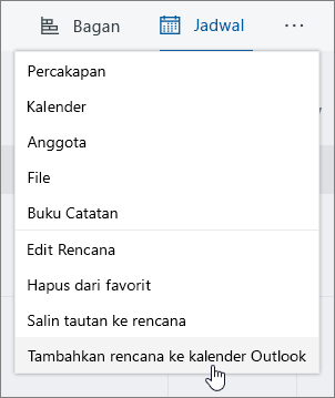 Cuplikan layar perencana menu dengan paket Tambahkan ke kalender Outlook yang dipilih.