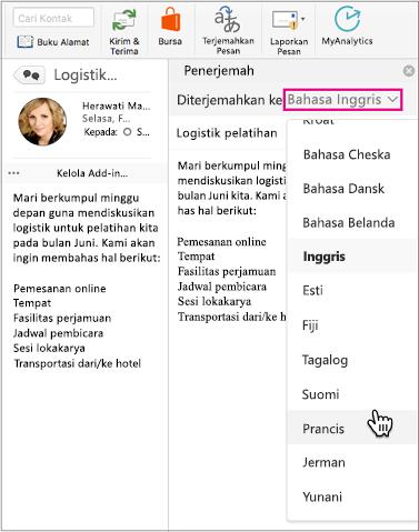Gunakan daftar turun bawah untuk memilih bahasa yang Anda akan menerjemahkan pesan Anda