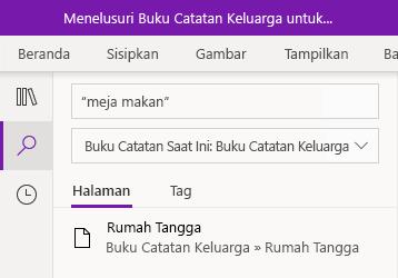 Mencari frasa teks di OneNote untuk Windows 10