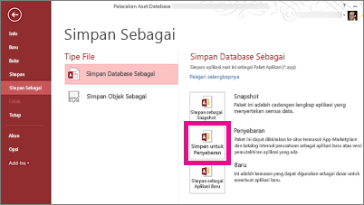 Opsi Simpan Untuk Penggunaan pada halaman Simpan Sebagai