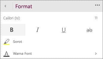 Ubah pengaturan font.