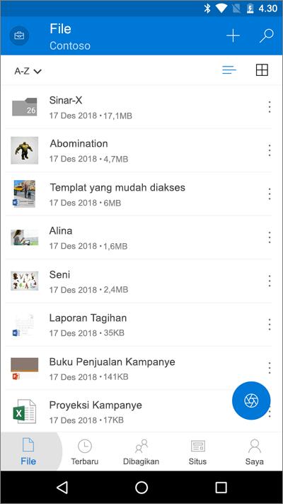 Cuplikan layar dari aplikasi seluler OneDrive dengan tombol File disorot