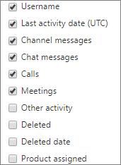 Laporan aktivitas pengguna Teams - memilih kolom