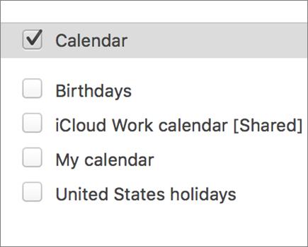 iCloud kalender di Outlook 2016 untuk Mac